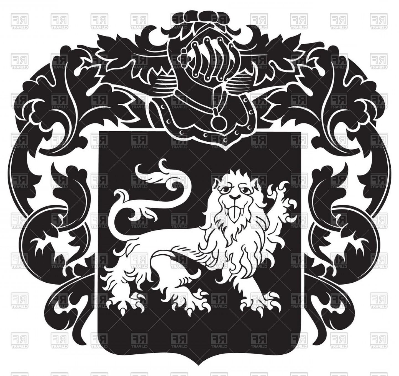 1440x1357 Ornate Heraldic Emblem With Image Of Lion On Shield Royal Coat Of