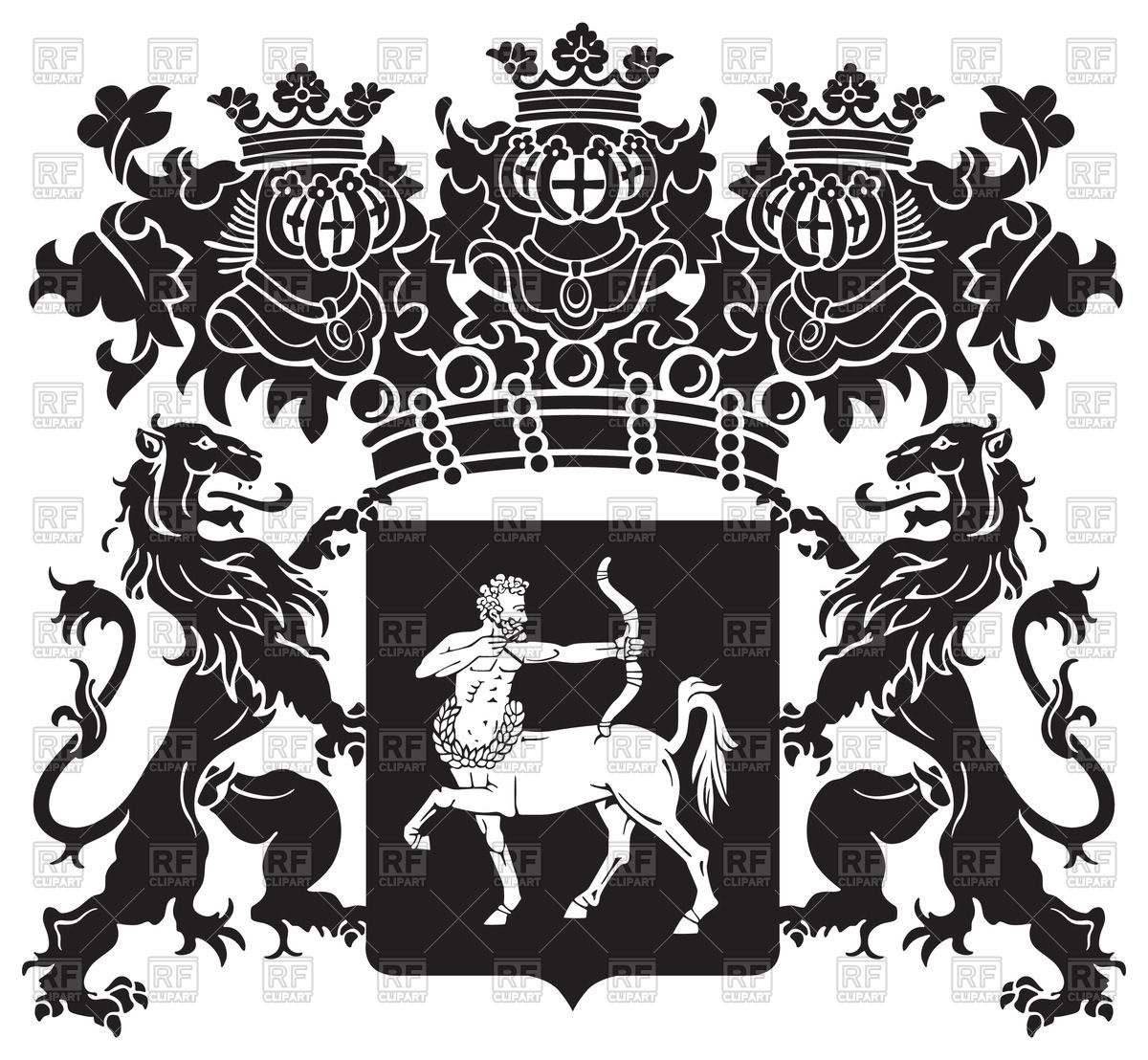 1200x1108 Royal Medieval Coat Of Arms With Lions And Centaur Vector Image