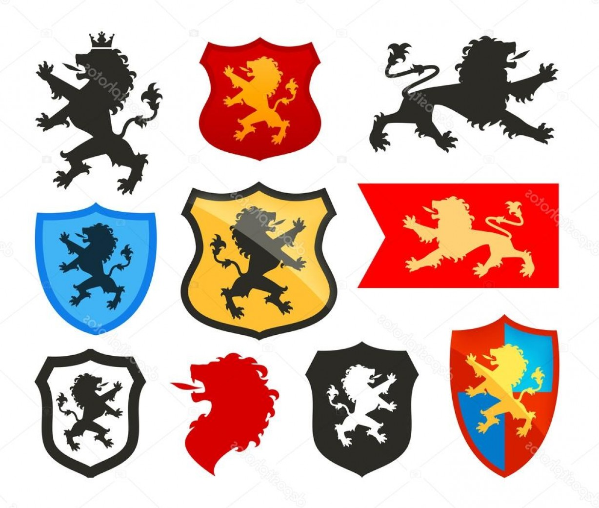 1228x1041 Stock Illustration Shield With Lion Heraldry Vector Arenawp