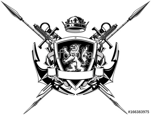 500x381 The Black White Coat Of Arms With Anchors, Spears, Swords And Lion