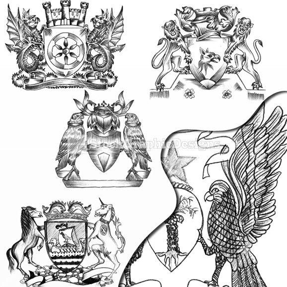 578x578 Unicorn, Dragon, Lion, Eagle Heraldic Coat Of Arms Vector Images