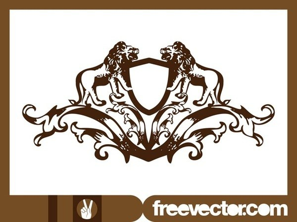 600x448 Crest With Lions Free Vector 123freevectors