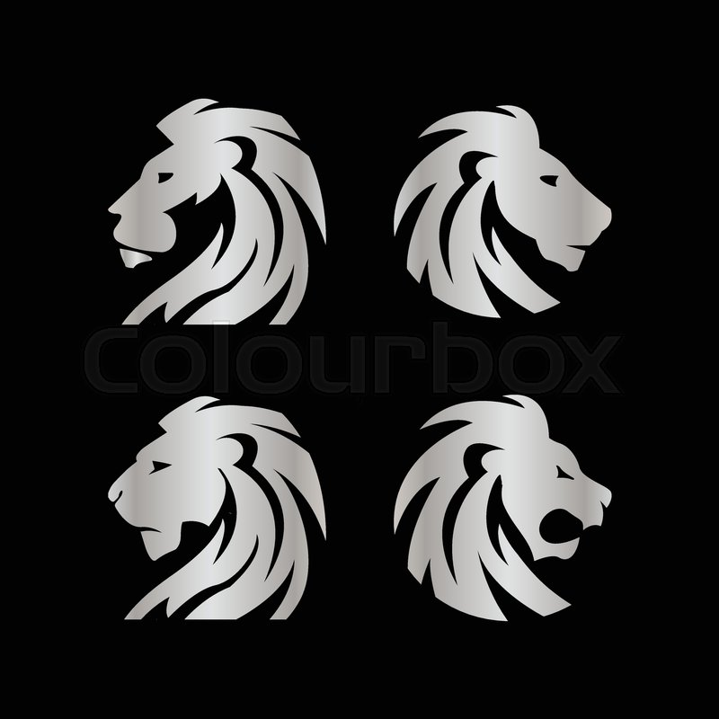 800x800 Elegant Silver Lion Crest Vector Design Concept Template Stock