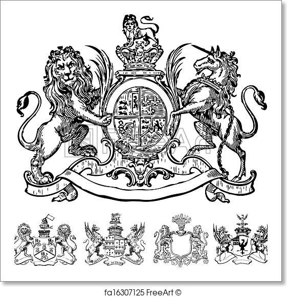 561x581 Free Art Print Of Vector Clipart Of Victorian Lion Crests. Set Of