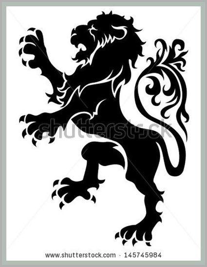 425x547 Heraldic Lion Lev Vector Mono Lions, Tattoo And Tatoo