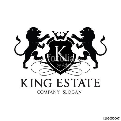 500x500 King Lion Crest Logo Design For Hotel And Real Estate Brand