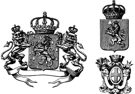 542x378 3 Heraldry Crests With Crowns, Lions, Banners Free Vector In