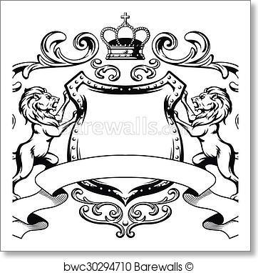 362x382 Art Print Of Heraldic Lion Shield Crest Silhouet Barewalls