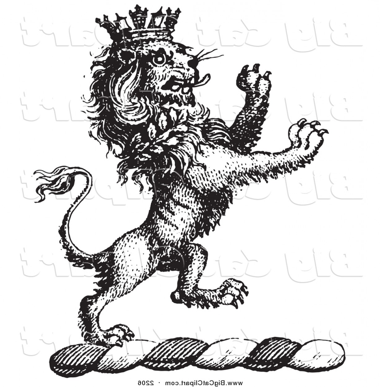 1228x1252 Big Cat Vector Clipart Of A Black And White Lion Crest With A
