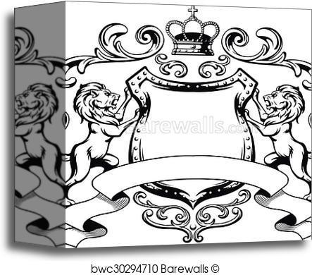 443x390 Canvas Print Of Heraldic Lion Shield Crest Silhouet Barewalls