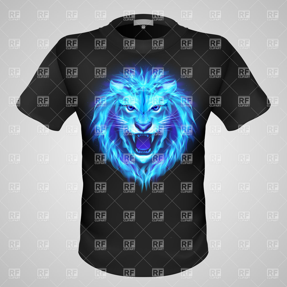 1200x1200 Black Male T Shirt With Print Of Blue Fiery Lion Head Vector Image