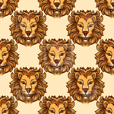 400x400 Seamless Color Lion Head Vector Image Vector Artwork Of