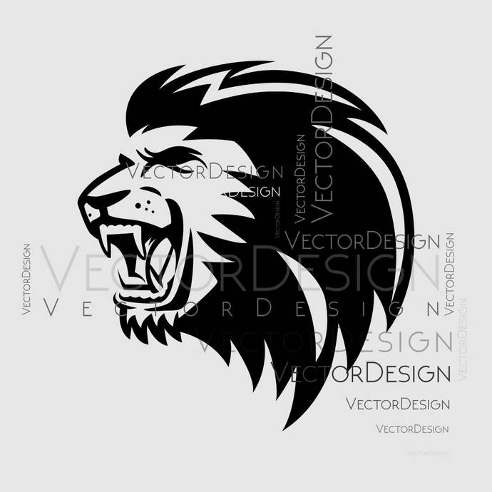 690x690 Lion Head V3 Graphics Svg Dxf Eps Png Cdr Ai By Vectordesign On Zibbet