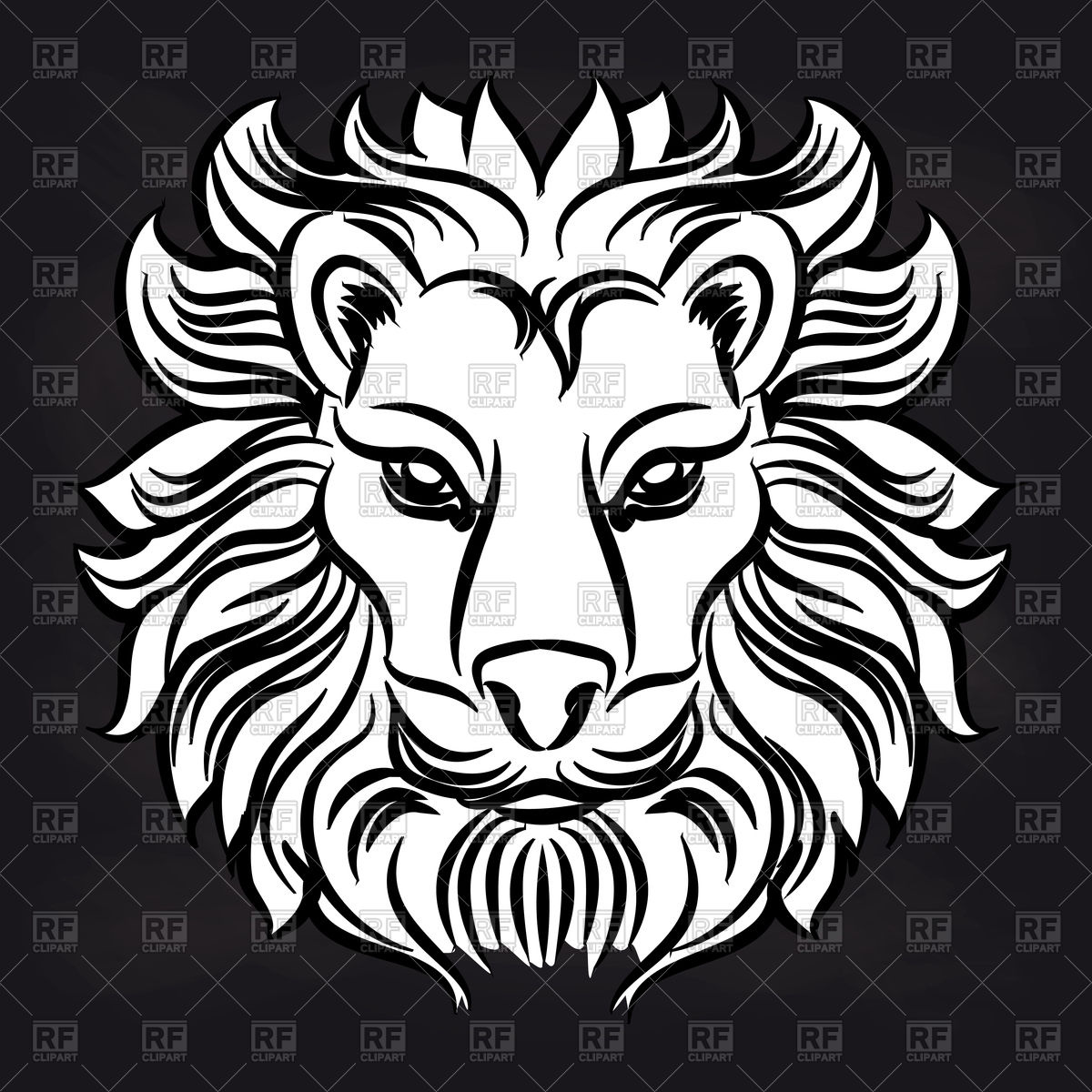 1200x1200 Lion Head On Black Background Vector Image Vector Artwork Of