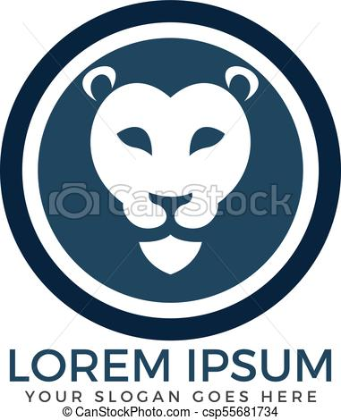 381x470 Round Lion Head Vector Logo Design. Animal Wild Cat Face Graphic Sign.