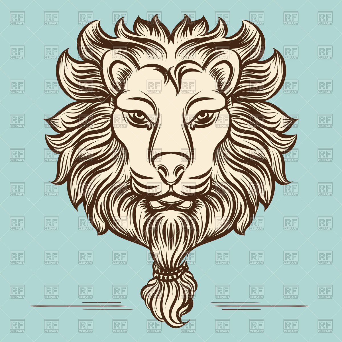 1200x1200 Vintage Lion Head Print On Blue Background Vector Image Vector