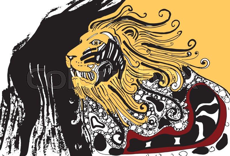 800x543 Proud Angry Lion. Aztec Lion. Decorative Lion. Old Lion Silhouette