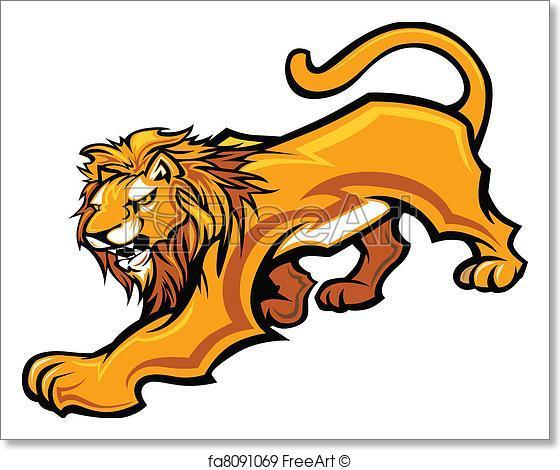 560x470 Free Art Print Of Lion Mascot Body Vector Graphic. Graphic Mascot