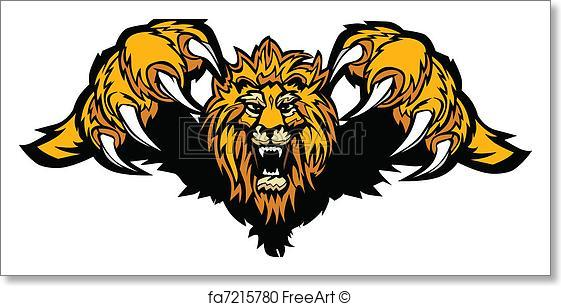 561x306 Free Art Print Of Lion Mascot Pouncing Graphic Vector. Graphic