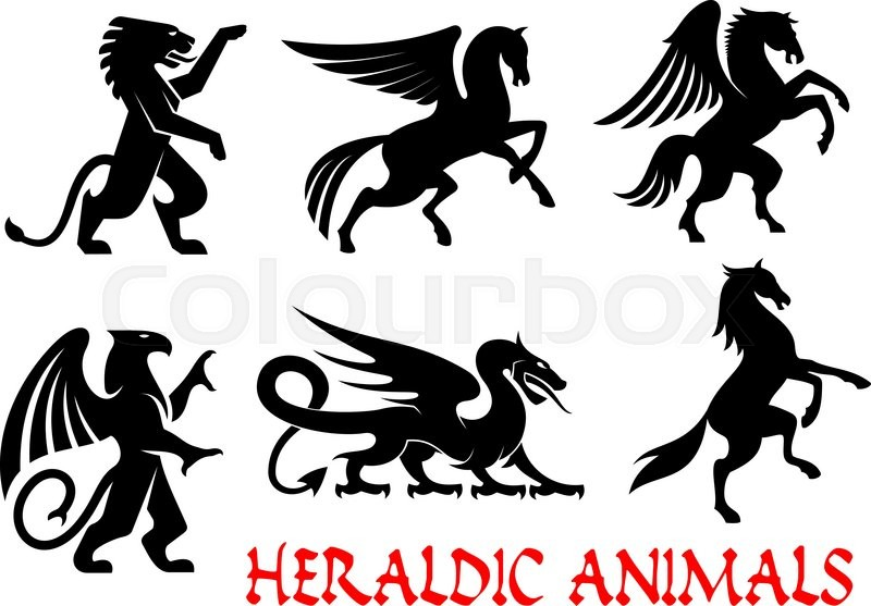 800x557 Heraldic Animals Icons. Pegasus, Griffin, Dragon, Lion, Horse