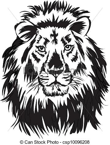 359x470 Lion,illustration With Only One Colour.