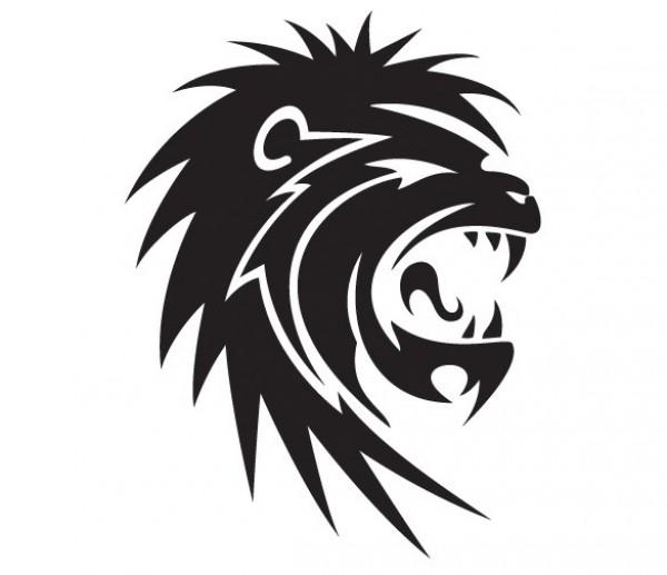 600x517 Black Roaring Lion Vector Graphic