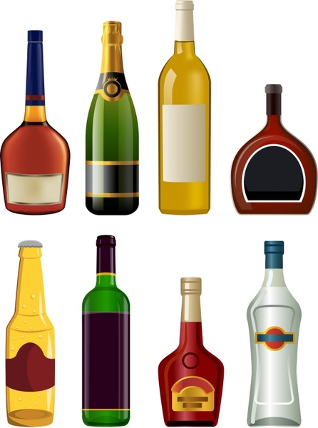 446x600 Liquor Bottles Free Vector In Adobe Illustrator Ai ( .ai
