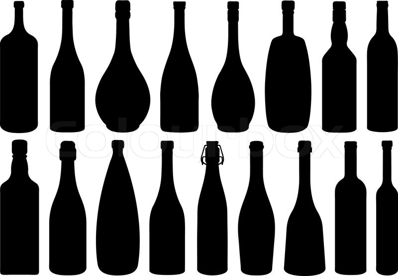 800x554 Set Of Different Glass Bottles Isolated On White Stock Vector