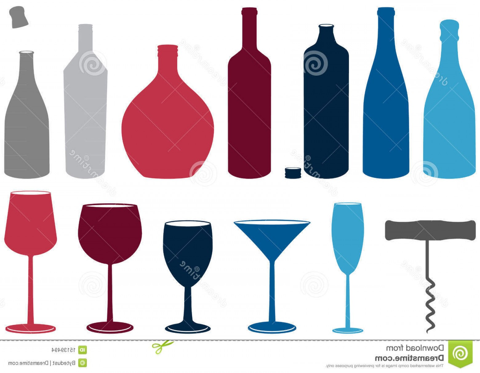 1560x1213 Stock Images Vector Set Liquor Bottles Glasses Corkscrew Image