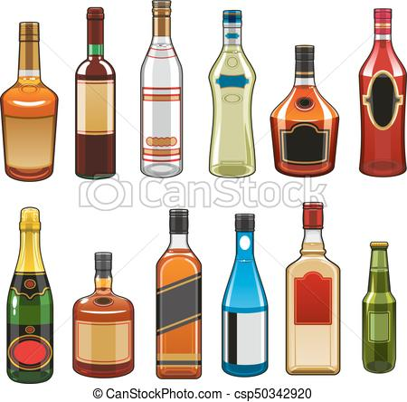 450x444 Vector Icons Of Alcohol Drinks Bottles. Alcohol Drinks Bottles