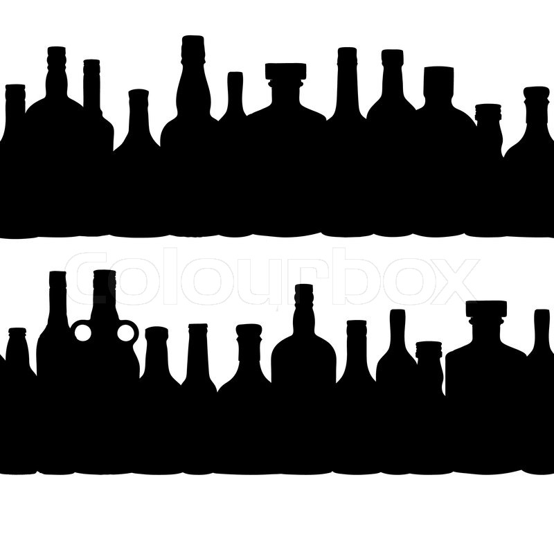 800x800 Vector Illustration Silhouette Alcohol Bottle Seamless Pattern