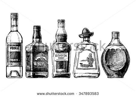 450x322 Vector Set Of Bottles Of Alcohol In Ink Hand Drawn Style. Isolated