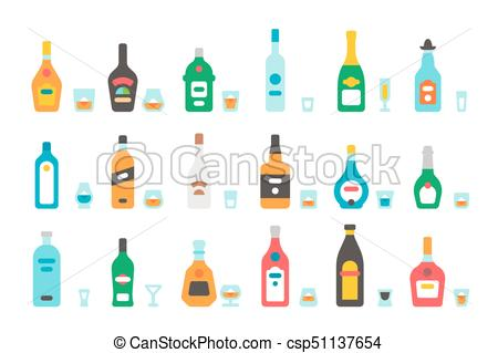 450x319 Flat Design Liquor Bottles And Glasses Illustration Vector.