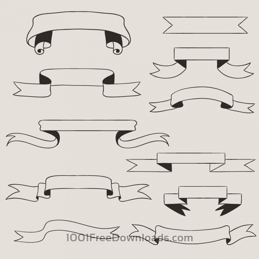 900x900 Free Vectors Vintage Vector Set Of Handdrawn Ribbons Vintage