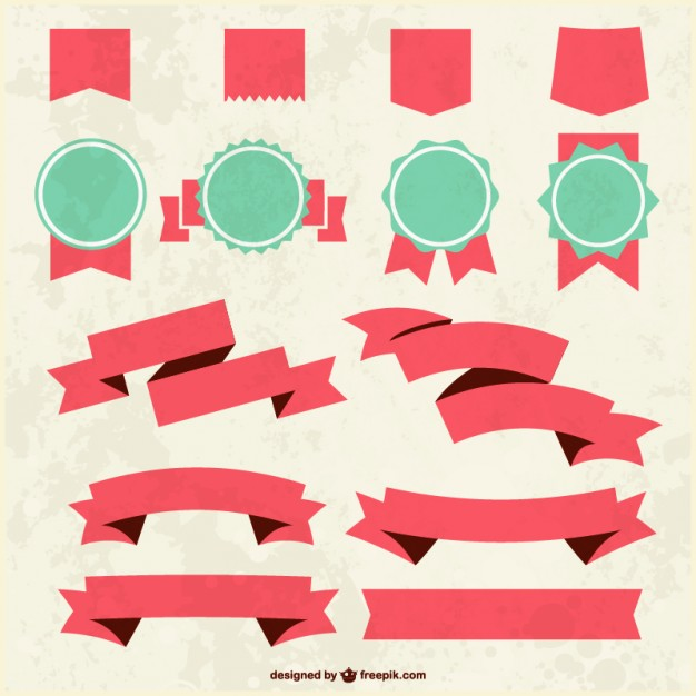 626x626 Grunge Textured Ribbons And Badges Vector Free Download