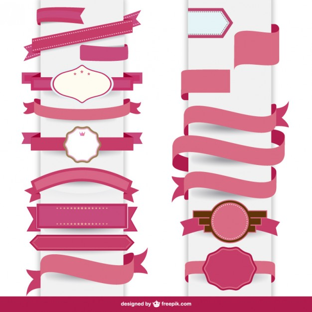 626x626 Ribbon Pink Decorative Template Vector Free Vector Download In