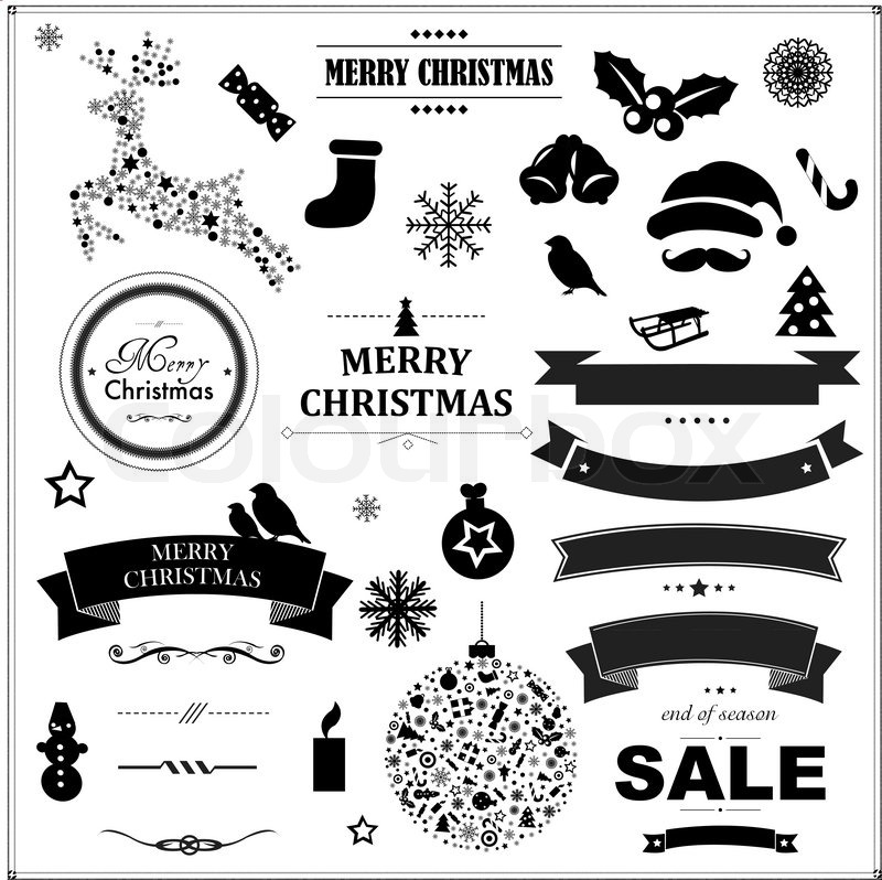 800x798 Set Of Vintage Black Christmas Symbols And Ribbons, With Gradient