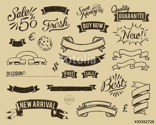 500x401 Vintage Sale Graphic Elements Set Stock Image And Royalty Free