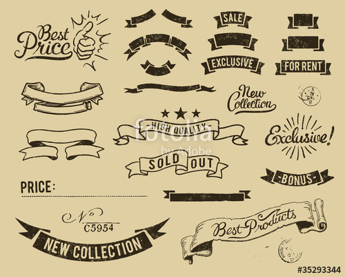 500x401 Vintage Sale Icons Set Stock Image And Royalty Free Vector Files