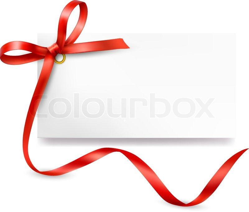 800x683 Card Note With Red Gift Bows With Ribbons Vector Stock Vector