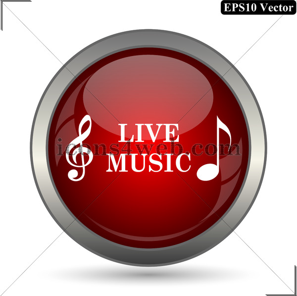 600x597 Live Music Vector Icon. Live Music Vector Button. Eps10