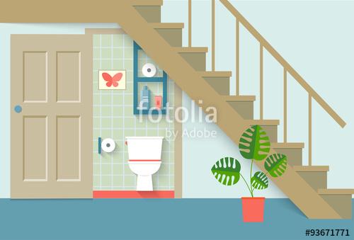 500x339 Flat Toilet Room Under Stair, Living Room. Vector Illustration