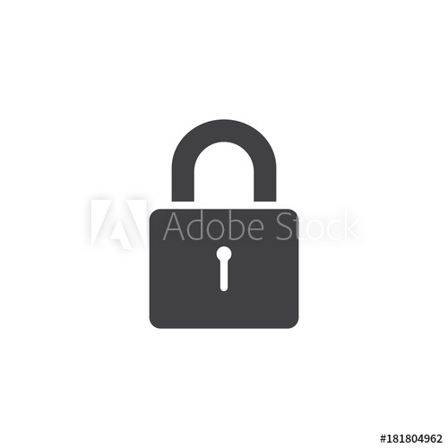 500x500 Padlock Icon Vector, Filled Flat Sign, Solid Pictogram Isolated On