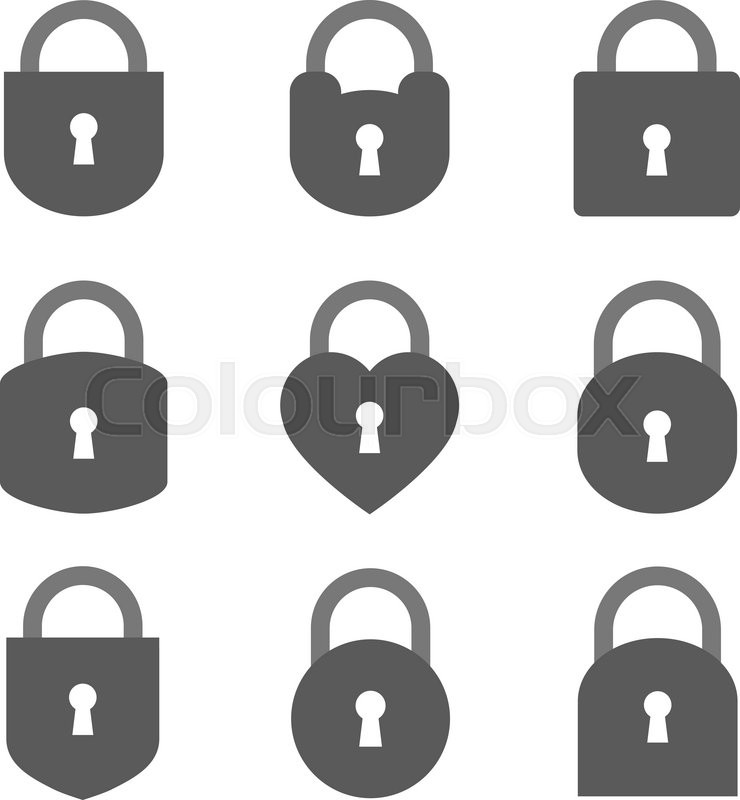 740x800 Set Of Lock Icon, Lock Icon Vector, Lock Icon Flat, Lock Icon Sign