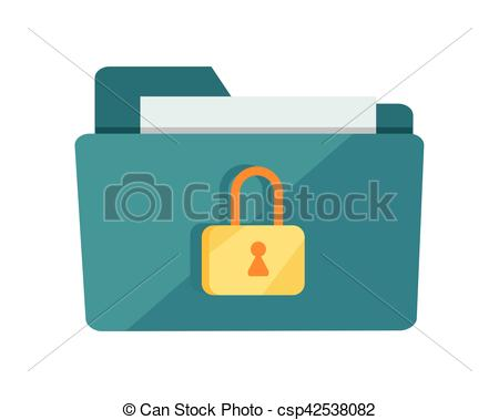 450x379 Vector Folder Lock Icon. Blue Folder Lock Icon On White Background