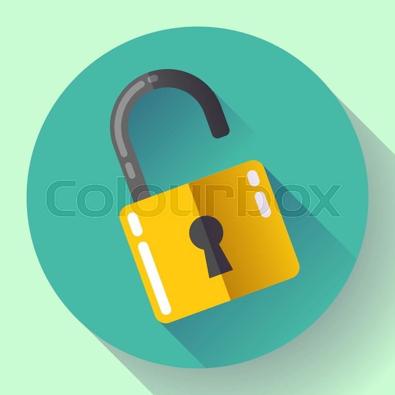 800x800 Vector Open Lock Icon With Long Shadow. Flat Design Style. Stock
