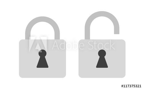 500x313 Flat Icon Locked And Unlocked Gray Padlock. Lock Icon. Vector