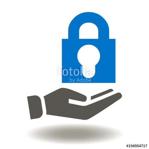500x500 Hand Give Padlock Icon Vector. Security Data Illustration. Secure