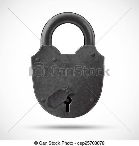 450x470 Heavy Lock. Padlock. Vector Oldstyle Heavy Shield Lock Design.