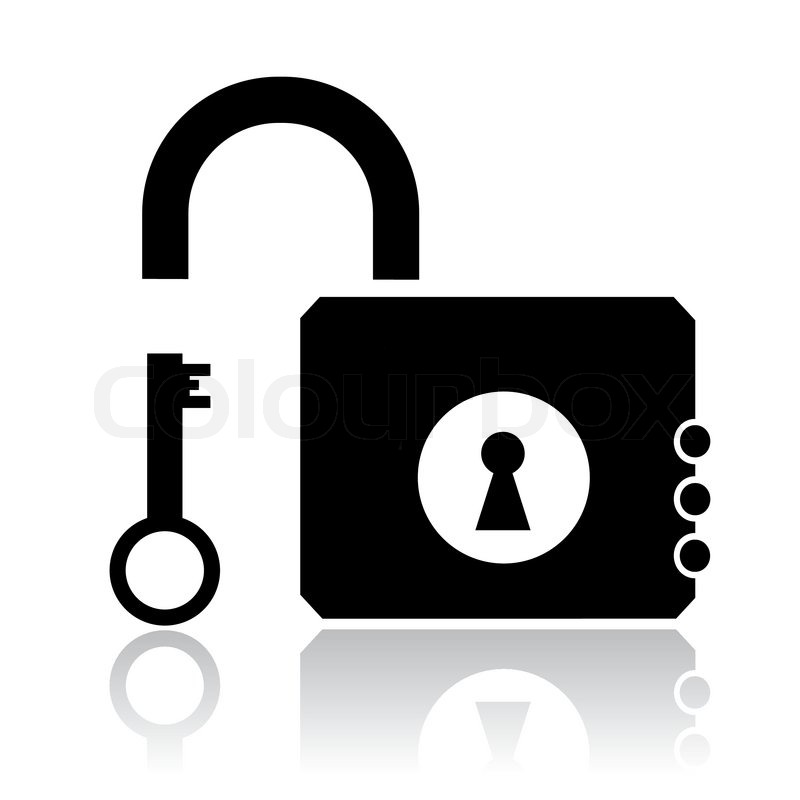 800x800 Vector Icon Of Opened Lock And Key Stock Vector Colourbox